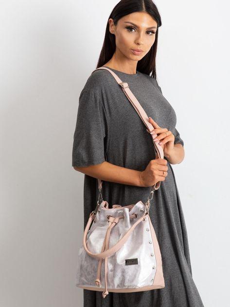 Różowo-srebrna torebka ze ściągaczem                              zdj.                              4