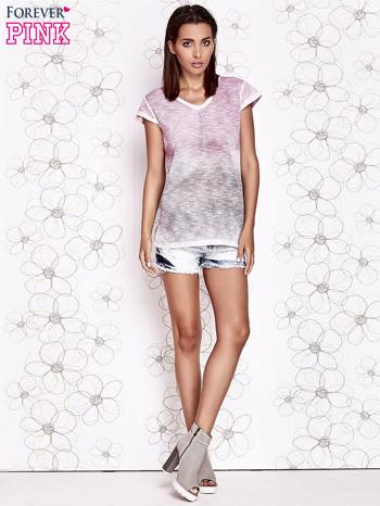 Różowo-szary t-shirt z efektem ombre                                  zdj.                                  2