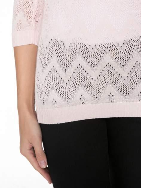Różowy ażurowy sweterek z rękawem 3/4                                  zdj.                                  7