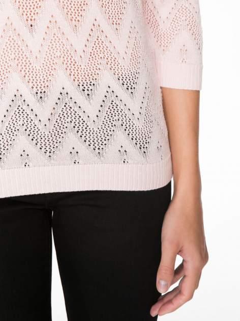 Różowy ażurowy sweterek z rękawem 3/4                                  zdj.                                  6
