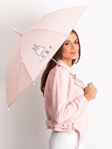 Różowy damski parasol z nadrukiem                              zdj.                              1