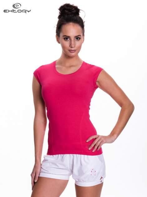 Różowy damski t-shirt sportowy basic                                  zdj.                                  1
