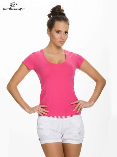 Różowy damski t-shirt sportowy z dekoltem U                                  zdj.                                  1