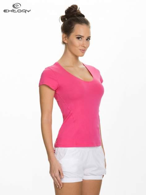 Różowy damski t-shirt sportowy z dekoltem U                                  zdj.                                  3