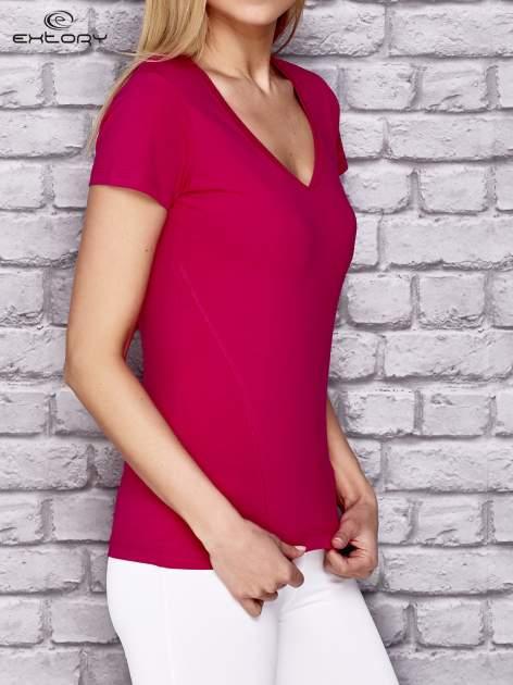 Różowy damski t-shirt sportowy z modelującymi przeszyciami                                  zdj.                                  3