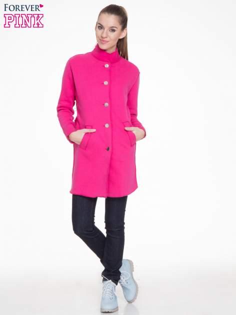 Różowy dresowy płaszcz o kroju oversize                                  zdj.                                  2