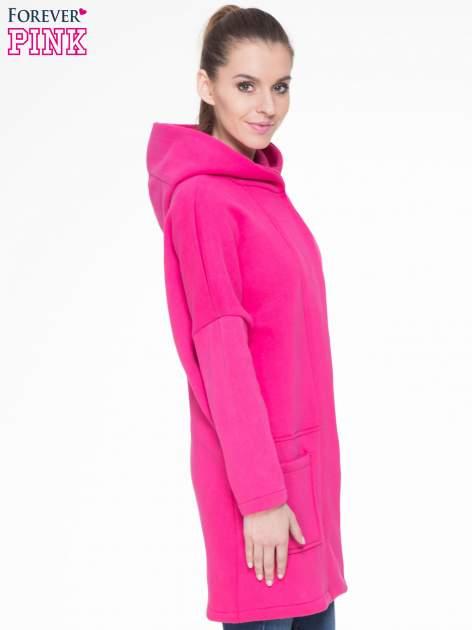 Różowy dresowy płaszcz z kapturem i kieszeniami                                  zdj.                                  3