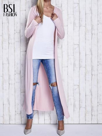 Różowy gładki sweter z otwartym dekoltem                                  zdj.                                  1