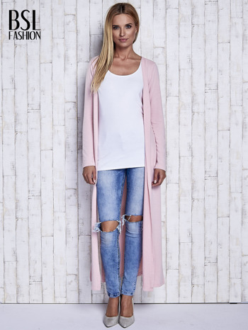 Różowy gładki sweter z otwartym dekoltem                                  zdj.                                  2