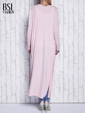 Różowy gładki sweter z otwartym dekoltem                                  zdj.                                  4