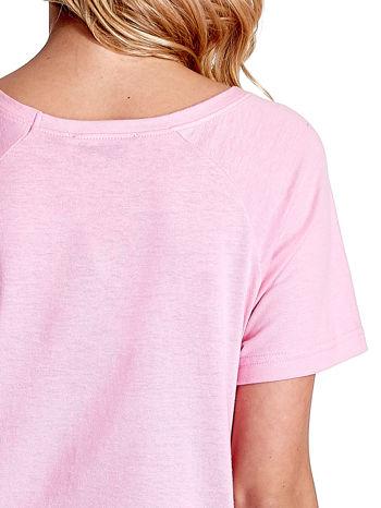 Różowy gładki t-shirt                                  zdj.                                  6