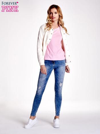 Różowy gładki t-shirt                                  zdj.                                  2