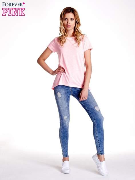 Różowy jednolity t-shirt                                  zdj.                                  7
