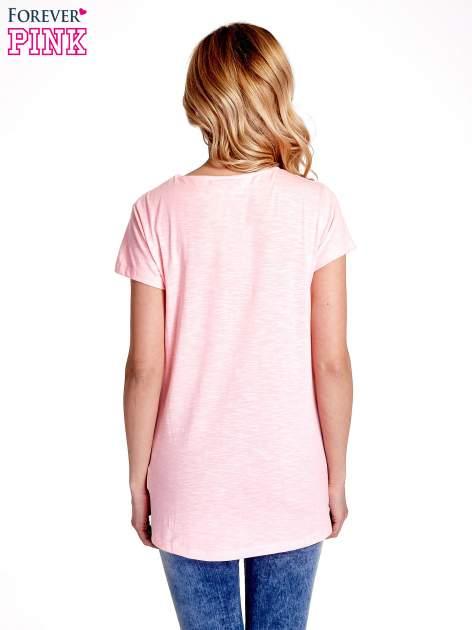 Różowy jednolity t-shirt                                  zdj.                                  4