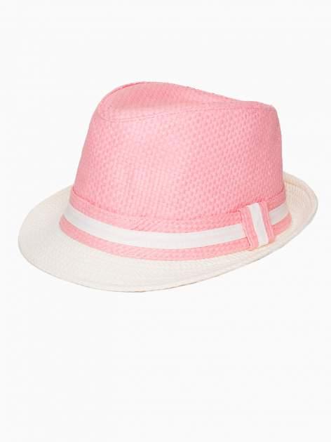 Różowy kapelusz fedora z białym wykończeniem                                  zdj.                                  2