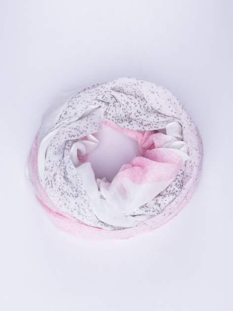 Różowy lekki szal w kropeczki                                  zdj.                                  1