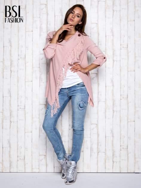 Różowy otwarty sweter z podwijanymi rękawami                                  zdj.                                  2