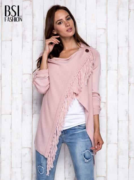 Różowy otwarty sweter z podwijanymi rękawami                                  zdj.                                  3