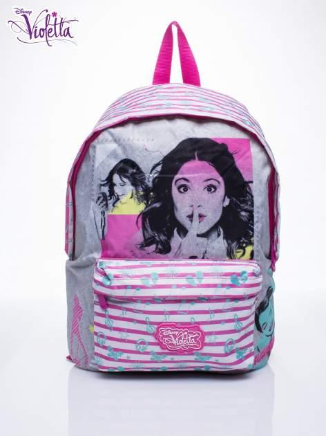 Różowy plecak szkolny w paski DISNEY Violetta                                  zdj.                                  1
