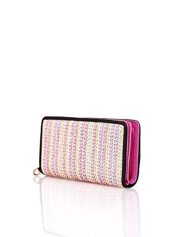 Różowy pleciony portfel w pionowe paski                                  zdj.                                  2