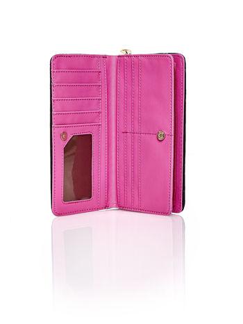 Różowy pleciony portfel w pionowe paski                                  zdj.                                  3
