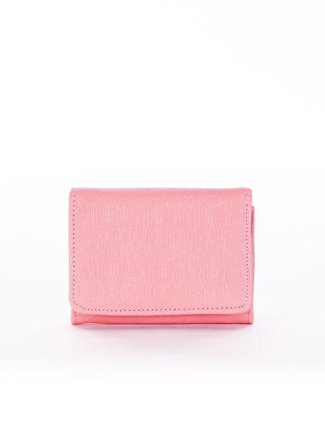 Różowy portfel damski z ekoskóry