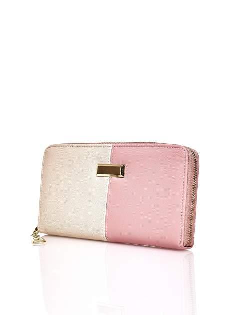 Różowy portfel two tone z uchwytem                                  zdj.                                  3