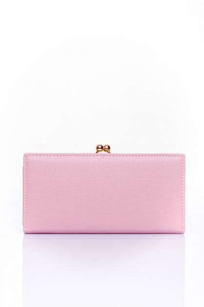 Różowy portfel z biglem efekt saffiano                                   zdj.                                  1