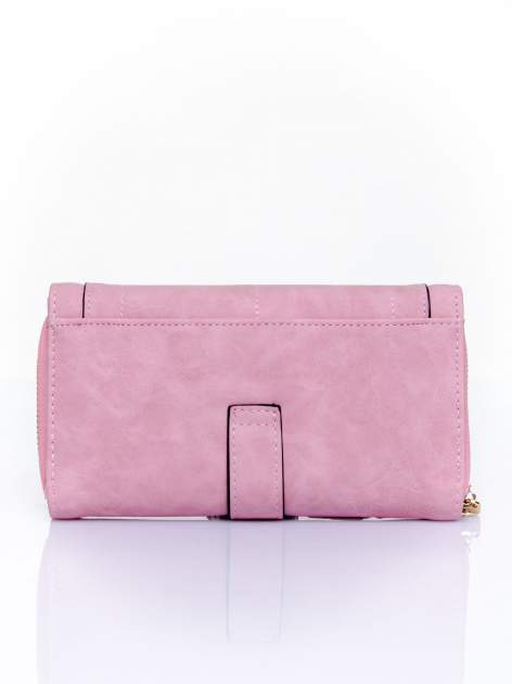 Różowy portfel z dżetami i ozdobnym zapięciem                                  zdj.                                  2