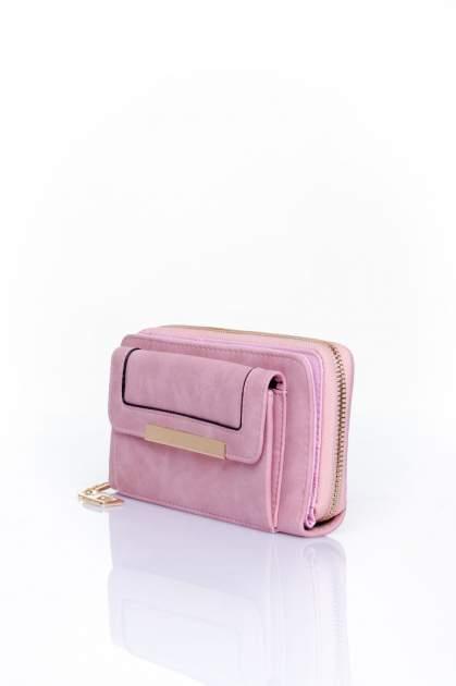 Różowy portfel z kieszonką ze złotym elementem                                  zdj.                                  3