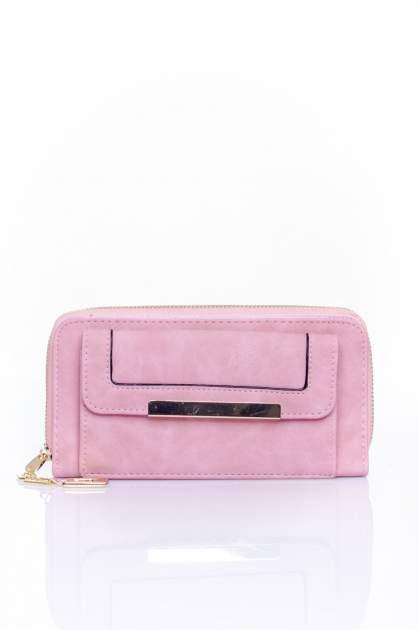 Różowy portfel z kieszonką ze złotym elementem                                  zdj.                                  1