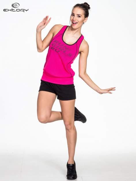 Różowy siatkowy top sportowy z napisem RUN GIRLS RUN                                  zdj.                                  2