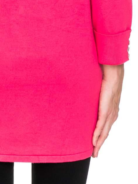 Różowy sweter kardigan z podwijanym rękawami z guziczkami                                  zdj.                                  8