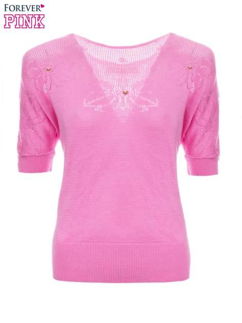 Różowy sweter z ażurową górą i krótkim rękawkiem                                  zdj.                                  5