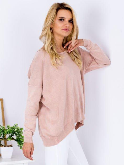 Różowy sweter z guzikami z tyłu                              zdj.                              5