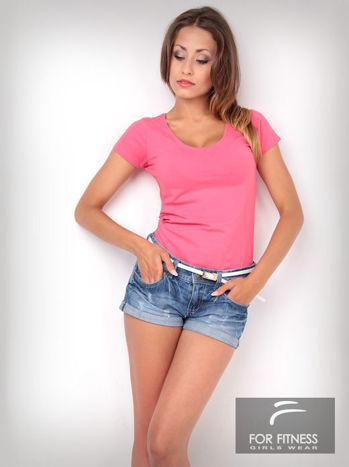 Różowy t-shirt bawełniany For Fitness                                  zdj.                                  1