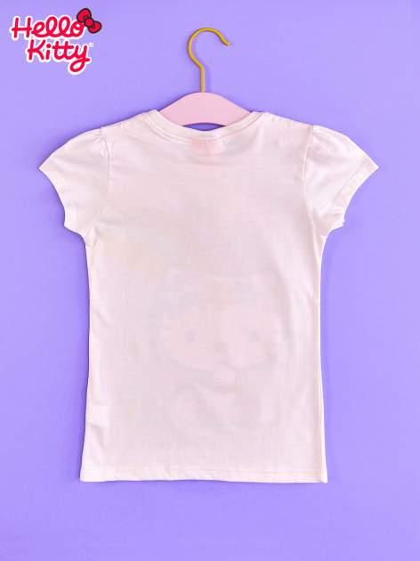 Różowy t-shirt dla dziewczynki nadruk HELLO KITTY                                  zdj.                                  2