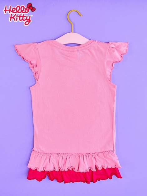 Różowy t-shirt dla dziewczynki z falbankami HELLO KITTY                                  zdj.                                  2