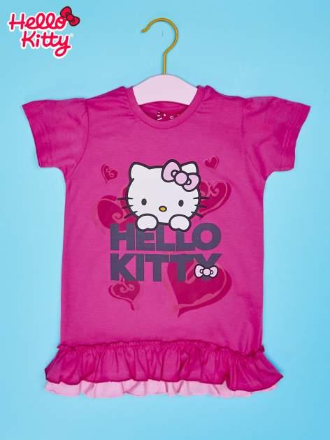 Różowy t-shirt dla dziewczynki z motywem HELLO KITTY