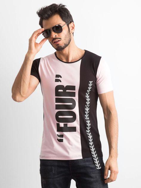 Różowy t-shirt męski z bawełny