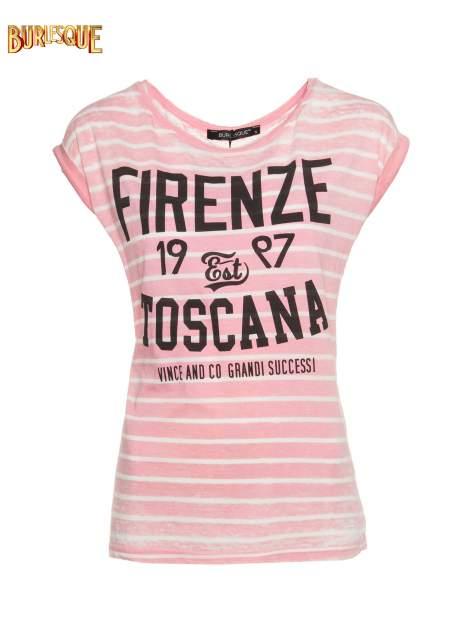 Różowy t-shirt w paski z napisem FIRENZE TOSCANA                                  zdj.                                  1