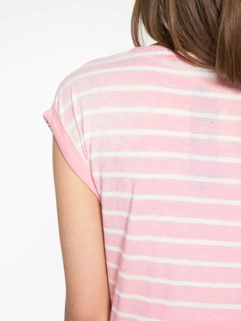 Różowy t-shirt w paski z napisem FIRENZE TOSCANA                                  zdj.                                  9