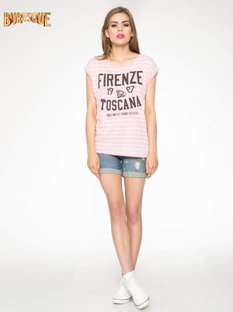 Różowy t-shirt w paski z napisem FIRENZE TOSCANA                                  zdj.                                  2