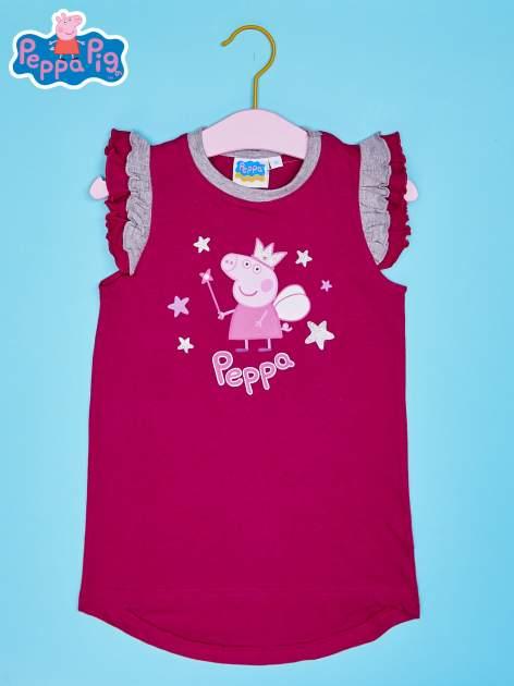 Różowy t-shirt z falbankami na rękawach dla dziewczynki ŚWINKA PEPPA