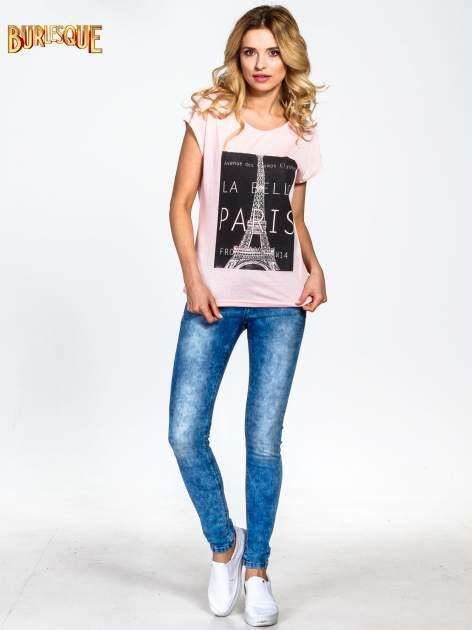 Różowy t-shirt z motywem Paryża                                  zdj.                                  5