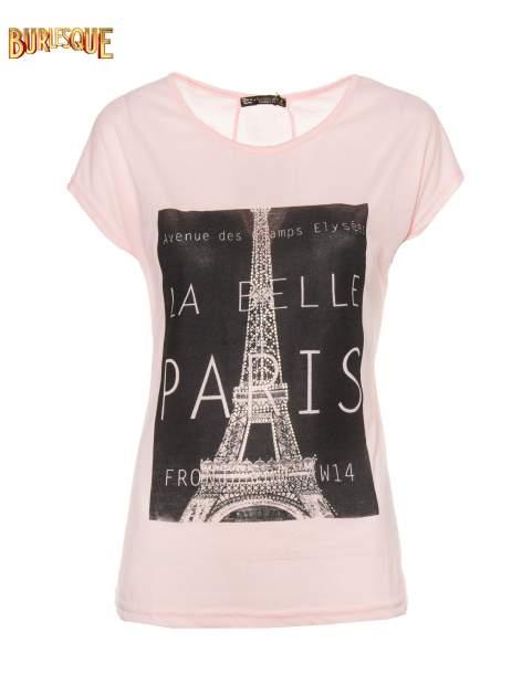 Różowy t-shirt z motywem Paryża                                  zdj.                                  7