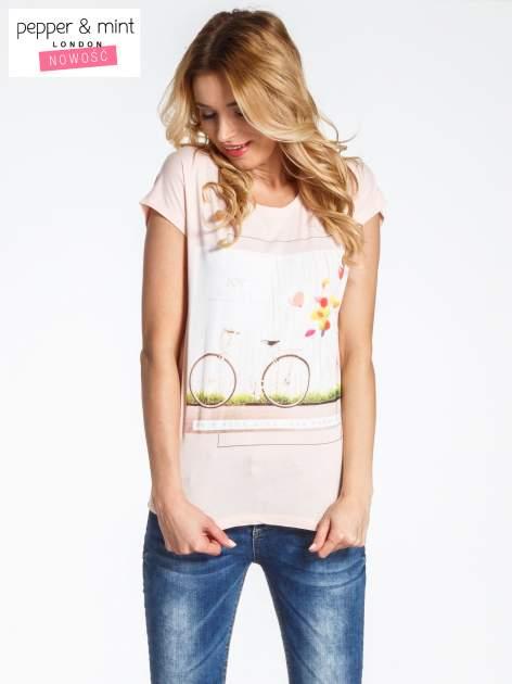Różowy t-shirt z nadrukiem JOY OF LIFE                                  zdj.                                  1
