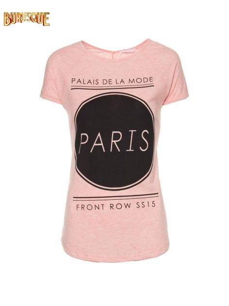 Różowy t-shirt z nadrukiem PARIS                                  zdj.                                  6