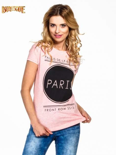 Różowy t-shirt z nadrukiem PARIS