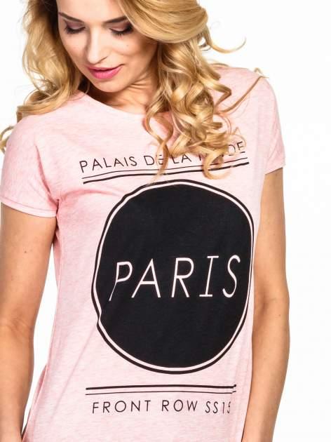 Różowy t-shirt z nadrukiem PARIS                                  zdj.                                  5